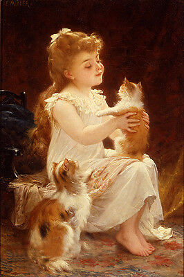 Enchanting Oil painting nice little girl with her pets cats in landscape canvas