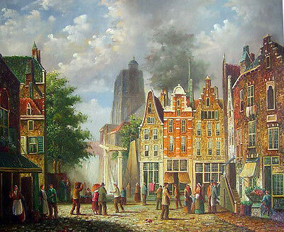 Oil painting Netherlands old town landscape cityscape with people hand painted