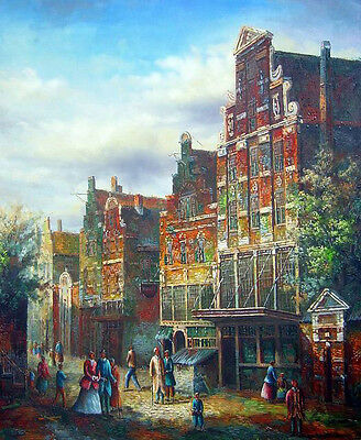 Huge Oil painting ancient Netherlands old town landscape with people in market