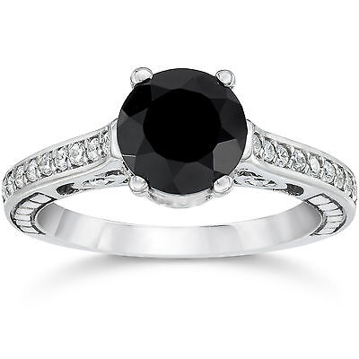2.69CT Black Diamond Vintage Style Engagement Ring 14K White Gold SZ (4-10)