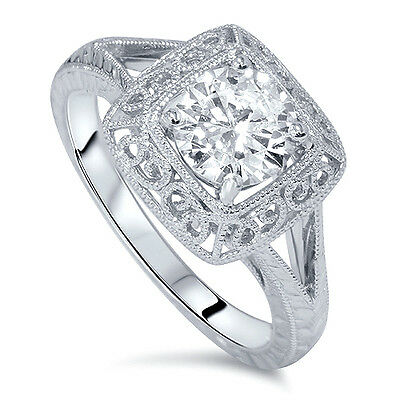 Vintage SI 1.07CT Solitaire Antique Diamond Engraved Engagement Ring 14K Scroll