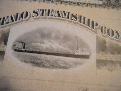 Buffalo Steamship Company unissued 1910s CRISP CRISP Certificate Beautiful