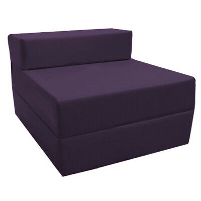 Purple Budget Fold Out Z Bed Futon Kids Sleepover Guest Chair Sofabed Mattress
