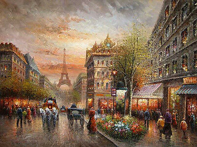 Dream-art Oil painting impressionism art Paris street scene Eiffel Tower canvas