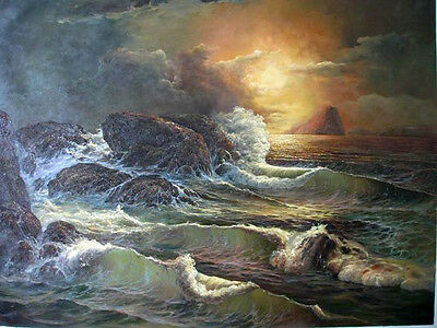Brilliant Oil painting sunset seascape with huge ocean waves and rocks on canvas