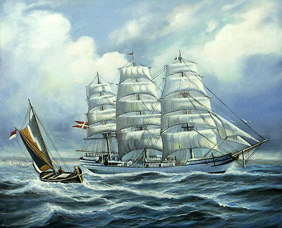 Dream-art Oil painting big sail boats Sailing on the sea with ocean waves canvas