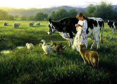 Dream-art Oil painting young shepherdess girl with sheep ducks cow dog canvas