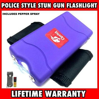 CHEETAH POLICE Stun Gun Rechargeable LED Flashlight Purple + Pepper Spray