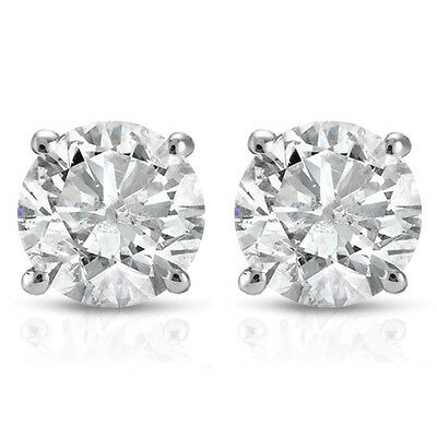 .50 cttw Round Diamond Studs Earrings In 14K White or Yellow Gold (Not Enhanced)