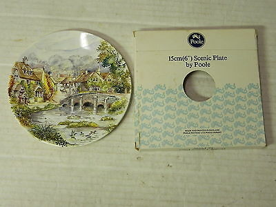 "Poole Pottery 6"" BRIDGE, HOUSE Scenic Plates IN ORIGINAL CASE BOX"