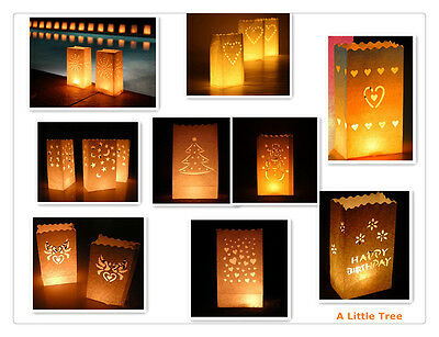 10XLuminary Candle Lantern Paper Bags Party Wedding Birthday Celebrations