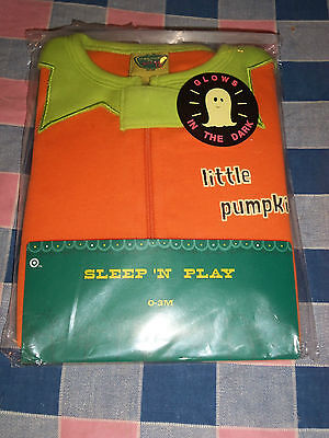 NIP Halloween Sleep 'n Play Little Pumpkin Glows in the Dark 0-3 Months