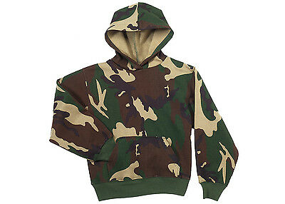 Kids Boys US Army USMC Military Woodland Camo Hoodie Hooded Pullover Sweatshirt
