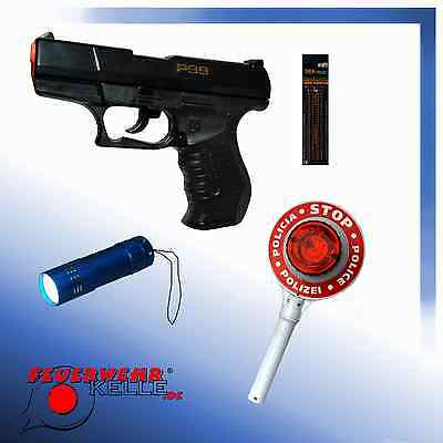 Polizeikelle, Karneval, LED-Lampe, Pistole P99, Munition, Kinder, Polizei