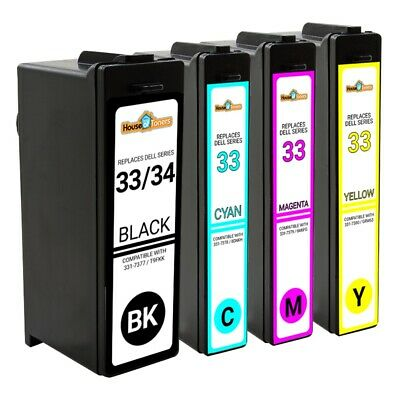 4PK For Dell 33 XL (Series 31 32 33 34) Extra HY Black/Color Ink Combo for V525W