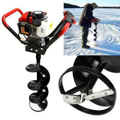 """10"""" Auger ICE Bit 55CC V-Handle 2 Stroke Gas Post Hole Digger Double Blade 3/4"""""""