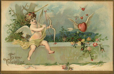 Valentine Cupid Shoots Heart w Wings Gilt Embossed c1910 Old Postcard