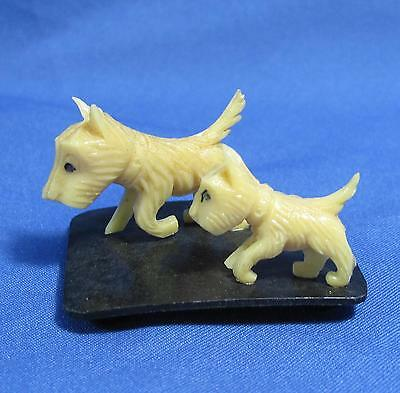 Vintage Mom Dog Puppy Plastic Base Advertising Cereal Prize Made in Japan 1950s