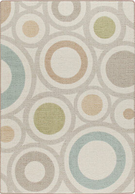 "2x8 Milliken In Focus Cream Modern Circles Retro Area Rug - Approx 2'1""x7'8"""