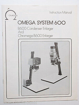 Omega B600 Enlarger Instruction Owners Set-Up Manual Guide Book English USED B43