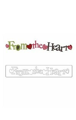 New! Sizzix Sizzlits Decorative Strip Die - PHRASE, FROM THE HEART 656070