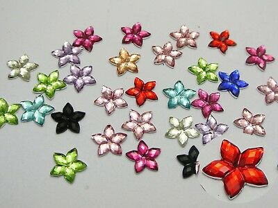 500 Mixed Color Acrylic Flatback Faceted Star Rhinestone Gems 8mm