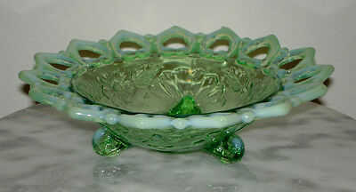 Northwood Shell and Wild Rose Green Opalescent footed Novelty Bowl Signed