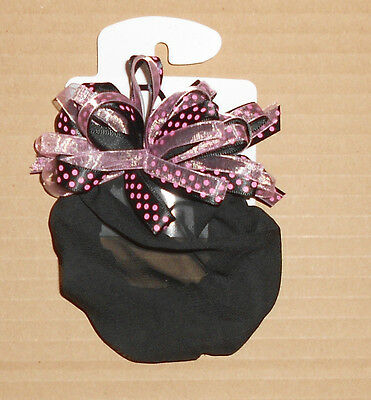 "NWT GIRLS HOT PINK POLKA DOT & BLACK  Chiffon Snood Ballet Bun Holder 3"" across"