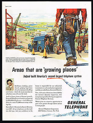 1958 Tampa Florida Building Construction Growth General Telephone Print Ad