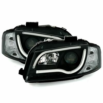 Audi A3 2003-2008 8P1 Hatchback Black Drl Light Strip Projector Headlights Pair