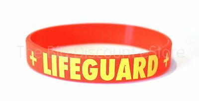LIFEGUARD - Beach / Swimming Pool First Aid - Red Silicone Wristband