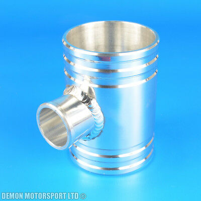 "76mm 3"" Polished Alloy T Piece With 25mm Branch BOV Fitting Pipe CNC Machined"