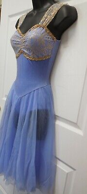 NWT Lyrical Ballet Gold Lace Bodice Full Chiffon Skirt Velvet Periwinkle Adults