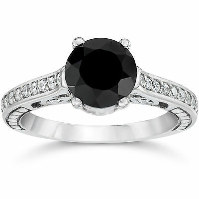 1.23CT Black Diamond Vintage Style Engagement Ring Hand Engraved Unique (4-9)