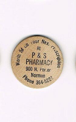 Wooden Nickel Worth 5 Cents On Next Presc Ps Pharmacy Norman Ships Free