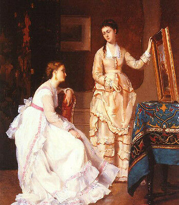 Wonderful Oil painting young women portraits - Elegant Connoisseurs in room