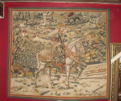 """Hand Stitched Aubusson Tapestry King on Horse 60"""" x 66"""""""
