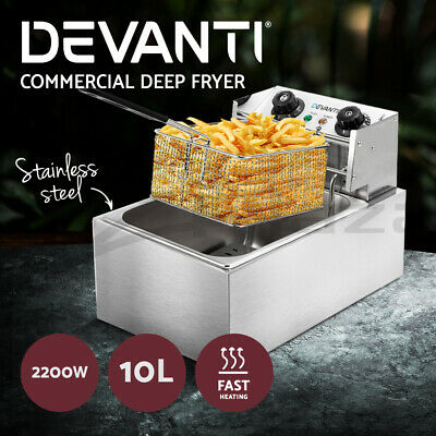 Devanti Commercial Electric Deep Fryer Basket Chip Cooker Stainless Steel