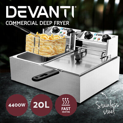 Devanti Electric Commercial Deep Fryer Twin Frying Basket Chip Cooker 5000W