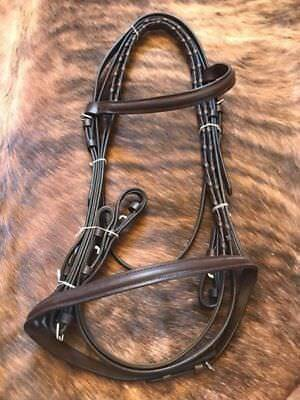 English Saddle Horse Raised Bridle With Laced Reins Choice Medium Or Dark Brown