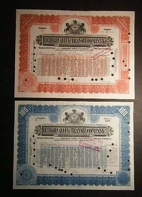PAIR 1910s Lehigh Valley Transit Co. of Pennsylvania, Issued & Redeemend, PRETTY