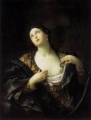 Huge Oil painting Salome Guido Reni - The Death of Cleopatra woman holding snake