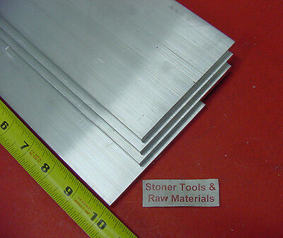 "4 pieces 1/4"" X 6"" ALUMINUM 6061 FLAT BAR 10"" long T6511 .250"" Plate Mill Stock"