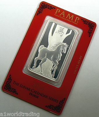 New 2014 Lunar Horse New Pamp 1 Oz Silver Bar Sealed .999 Pure
