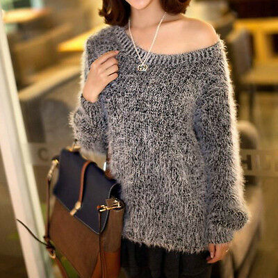 Newst Women Knitted Thick Casual Loose Pullover Jumper Sweater Knitwear Top LH