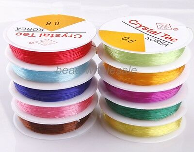 New 3Pcs of Approx 15m Crystal Stretch Elastic Cord 10Colors Dia 0.6/0.8mm