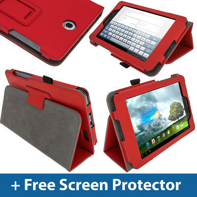 "Red Leather Case for Asus Fonepad ME371MG 7"" 3G Android Tablet Cover Holder"