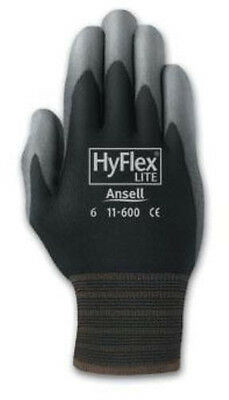 Ansell 11-600 HyFlex Polyurethane Palm Coated Black Gloves- Size 8 (Pack of 12)