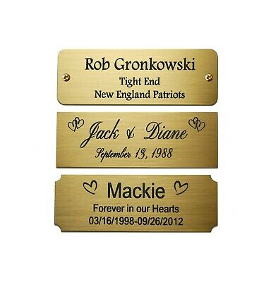 """Engraved Solid Brass Plate Picture Frame Art Label Name Tag 3"""" x 1"""""""