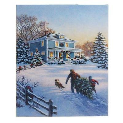 Lighted Christmas Picture RAZ Canvas Bringing Home the Tree mm 3311353 NEW RAZ